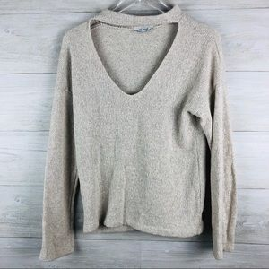 Zara Trafaluc Chocker V Neck Chunky Knit Sweater